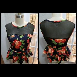 Floral Mesh Peplum Top, Bodycon and Mesh